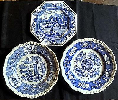 3 Spode Blue Room Collection Plates,Regency,Sutherland Series