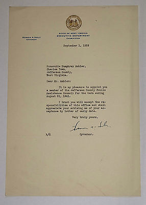 1938 Letter from Governor Homer A Holt to Humphrey Ambler West Virginia