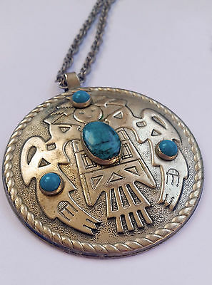 Vintage Thunderbird Tribal Necklace Nickel Silver Bell Trading Post - Turquoise