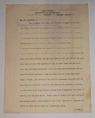 1917 Library of Congress Letter - Lawrence Washington to Christine Chew Roszel