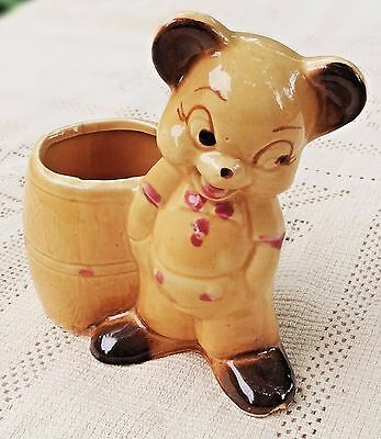 VINTAGE 1950's HAND PAINTED CERAMIC HONEY BEAR WITH HONEY BARREL PLANTER