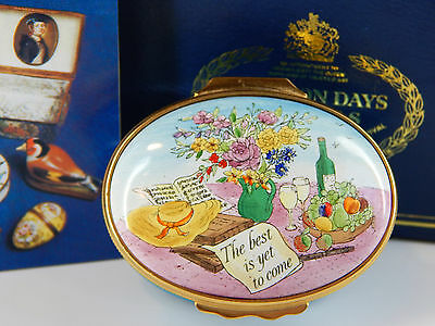 """Halcyon Enamel Over Copper Box, Quote, """" The Best Is Yet To Come"""" - With Box"""