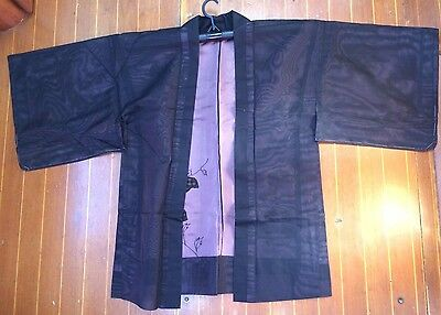 Fab Black And Pink Sheer Vintage Japanese Haori With Lovely Flower Pattern