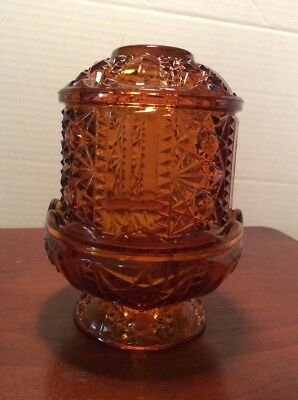 Vintage 1960's Amber Indiana Glass Star of David Fairy Lamp/ Candle Holder  #30