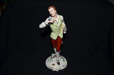 1930's DUX Bohemia Hand Painted Porcelain Figure Birdman Holding Bird and Cage