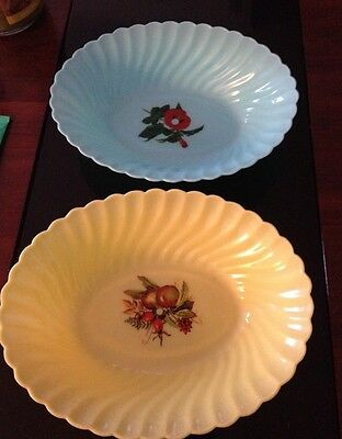 "Vintage (10""x 8"") Turquoise & Yellow Hard Plastic Bowls Set Of 2"