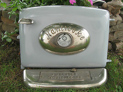 Vintage 1940's Coal Stove Oven Door And Trim Enamel Cast Iron Apollo Nanticoke