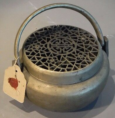 Antique Qing Dynasty Chinese Swing Handle Round Brass Hand Warmer Shou Symbol