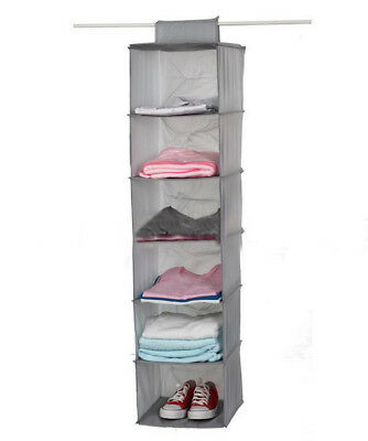 6-Shelf Hanging Organizer Closet Rod Black Fabric Storage Pant Bag Clothes New&