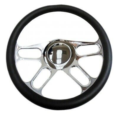 """Chrome 14"""" Billet New Age Half Wrap Steering Wheel & Smooth Horn Button (9 hole)"""