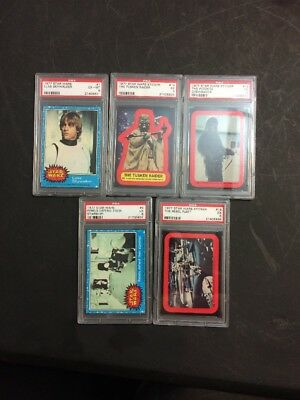 1977 star wars cards PSA Graded (6,5) Lot Of 5 Cards And Stickers