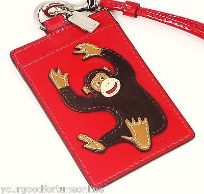 NWT Coach ID Badge Holder/Lanyard Monkey/Ape Red Leather Card Pass Case 60716