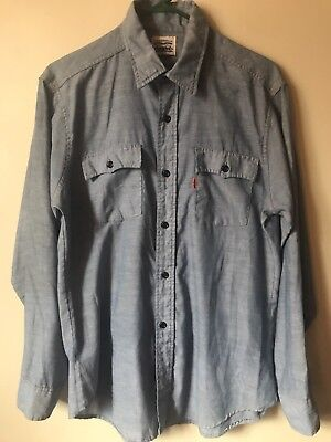 VTG Levi's Levi Strauss & Co. Light Chambray Work Chore Shirt Large Orange Tab