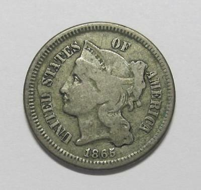 1865 U.S. Three Cent Coin * Nickel * Average Grade * A Nice Type For Book
