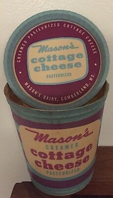 VINTAGE MASON'S  Cottage Cheese Container 16 oz CUMBERLAND MARYLAND  NOS