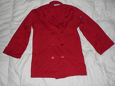Unisex Chef Works Lightweight Chef Cook Coat Jacket Red Size Extra Small