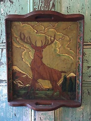 Vintage Hand Carved Folk Art Rustic Cabin Decor Deer Stag Wood Tray Painting