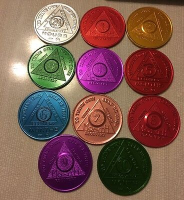 Recovery coins AA Aluminum Medallion token sobriety birthday 24 hr & 1-10 Months