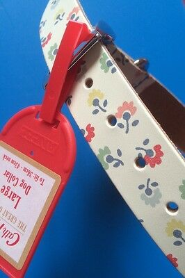Gorgeous Cath Kidston Large Dog Leather Collar To Fit 36-43cm Neck+CK Paper Bag