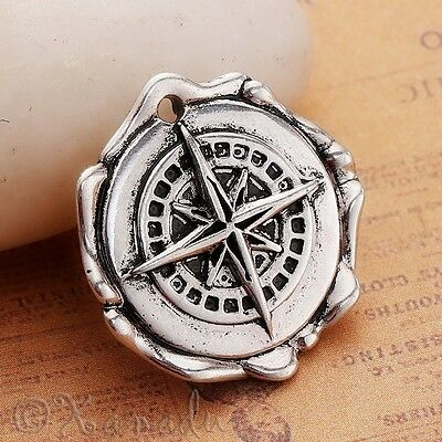 Wholesale Antiqued Silver Plated Pendant C2812-1 2 Or 5PCs Compass Charms