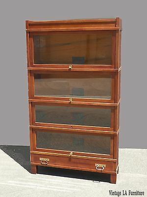 Vtg Globe Wernicke Co. Lawyers Stackable Barrister BOOKCASE w Drawer Art~Mission
