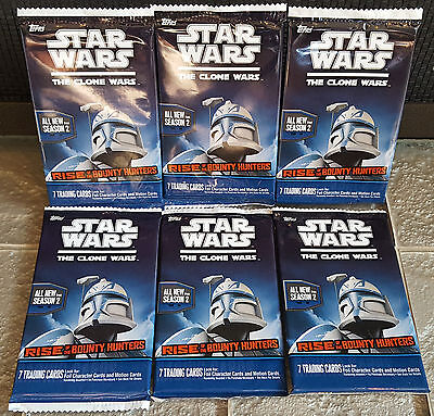 Topps Star Wars Clone Wars Rise of the Bounty Hunters NEW Lot of 6 Card Packs