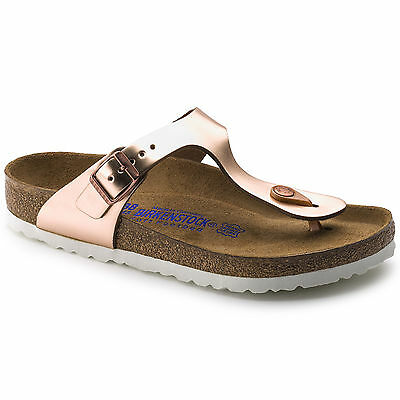 Birkenstock Leather Gizeh $179rrp Metallic Copper SOFT FOOTBED BNIB 1005048