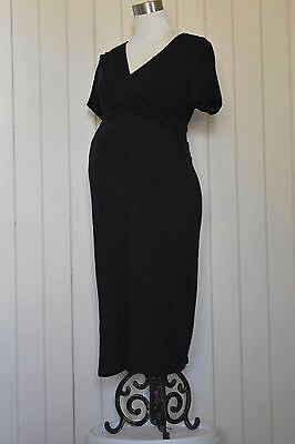 Black Ripe maternity dress. Wrap around top. Small sleeves. VGC. Size M