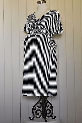 Blue and white striped Sono Vaso maternity dress. Waist tie. VGC. Size 10