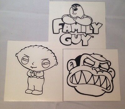 Family Guy Stickers Lot Of 3 Stewie Evil Monkey Head Peter W/Logo