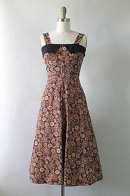 Vintage 1950s Black, Yellow, & Orange Paisley Floral Sun Dress XS Vest Cotton