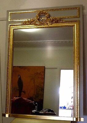 Antique French Louis XV1 Style Gilt wood And Painted Frame Pier Mirror