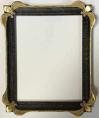 Antique Black and Gold Small Ornate Picture Frame, Hand-Made Art Nouveau