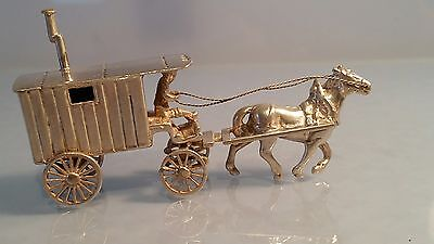 Dutch silver beautiful  detailed Miniature silver articulated gypsy van & horse