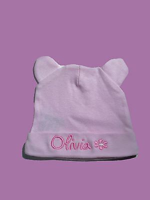 Personalised Baby Hat Bunny Ears Cap  Any Name Baby Gift  Twins Newborn Baptism