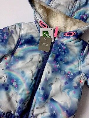 Baby Girl BNWT Winter Warm Unicorn Print Jacket NEXT Age 12-18 Months