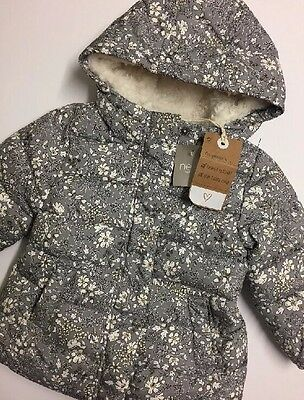 NEW Baby Girl Grey Floral Print Fleece Lined Jacket Winter Age 12-18 m NEXT