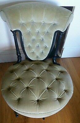 Victorian antique nursing chair with ebonised wood