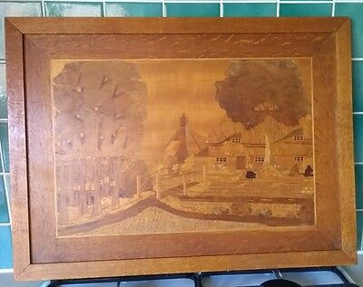 RARE UNIQUE Bespoke Handcrafted Wooden Inlay Picture Lincoln Thatched Cottage