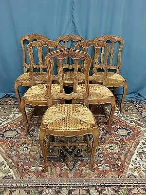 Set Of Six  French Oak Dining Chairs