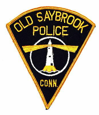 OLD SAYBROOK CONNECTICUT CT Police Sheriff Patch LIGHTHOUSE BEAM OCEAN PIE SHAPE