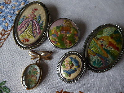 Vintage Hand Embroidered Brooches/set Of 5 Beautiful Embroidered Pins/brooches