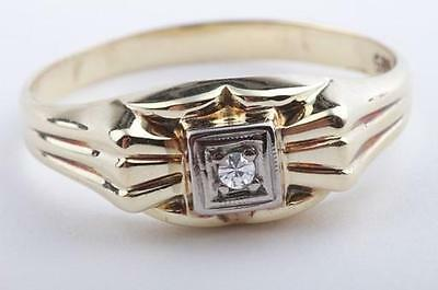 Brillant Diamant Ring antik in aus 585 er Gelbgold mit Brilliant Solitär Gr 56