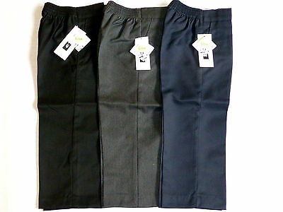 SCHOOL BOYS PULL-UP Half Elasticated Waist TROUSERS-BLACK/GREY/NAVY AGES 1-8YRS