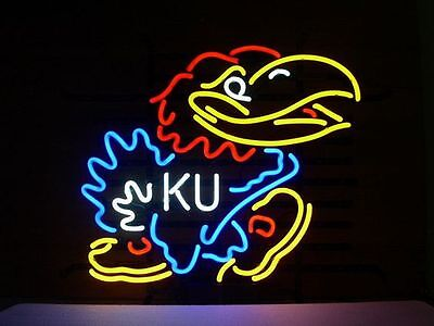 "New KANSAS JAYHAWKS KU Beer Real Glass Neon Sign 20""x16"" Ship From USA"