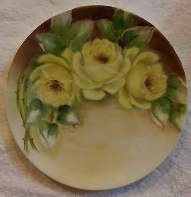 Hand Painted Porcelain Plate Yellow Roses Green Leaves TWA Rosenthal Plate