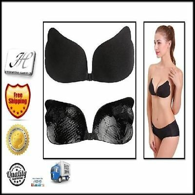 Invisible Backless Strapless Self Adhesive Push Silicone Bra Sticky Wing Black