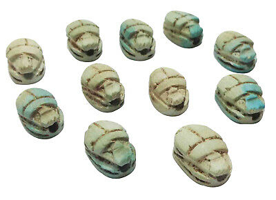 "12 Scarabs Beetle Handmade Pendants 0.5"" bead Egyptian Ceramic Carved  XXS (205)"