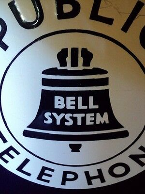 Porcelain Vintage Public Bell System Telephone Wall Mounted Double Sided Sign