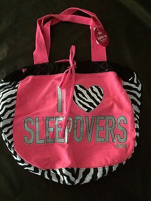 Girls Justice I Love Sleepovers Light Up Slouchy Tote   Nwt